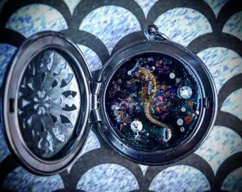Spacehorse Locket (taxidermy jewelry/curiosities/oddities)