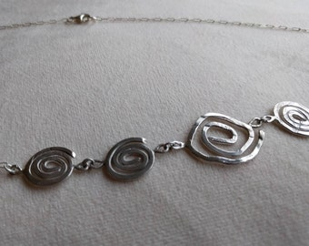 Handmade sterling silver spiral necklace with high quality sterling silver chain and clasp