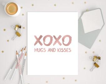 Rose Gold Print, Xoxo Print, Rose Gold Wall Art, Gift For Her, Hugs And Kisses, Love Printable, Xoxo Wall Art, Minimalist Print