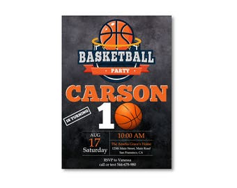 Basketball Birthday Party Invitation- Printable Basketball Invite- DIY Basketball Party Invitation- Sports Invite- DIY digital printable