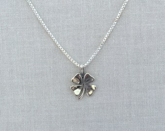 Tiny Four Leaf Clover Charm, Lucky Shamrock, Four Leaf Clover Necklace, Shamrock Charm, Silver Four Leaf Clover