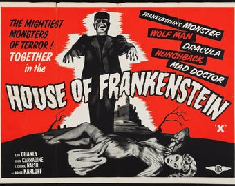 House of Frankenstien - retro horror movie poster print 11x17