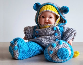 Crochet Pattern Snowequipment for little dolls, dollclothes, crochet dollclothes, 13 inch doll
