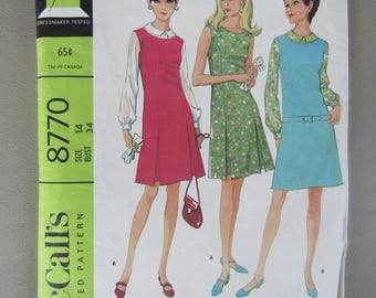 Vintage McCall's Pattern 8770 for Misses Size 14 Dress or Jumper in 2 Versions Plus Blouse