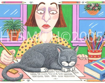 Paperweight - Please Write Card - Funny Cat Card - Color Blank Card - Cute Cat Card - Naughty Cat Card
