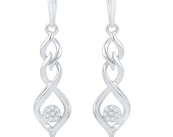 10k White Gold Dangle Earrings, Diamond Drop Earrings Also in Sterling Silver