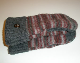 Wool Mittens Felted Recycled Sweaters Fleece-lined Warm Cozy Grey and Burgandy Striped