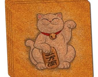 Lucky Beckoning Cat Maneki Neko Fortune Japanese Kawaii Cork Coaster Set Of 4