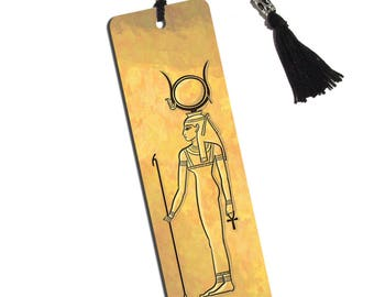 Hathor Ancient Egyptian Goddess Printed Bookmark With Tassel