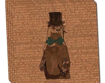 Dandy Otter Bowtie Top Hat Thin Cork Coaster Set Of 4