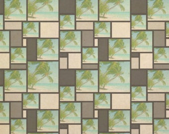 Island Beach Palm Tree Caribbean Vacation 1 Kraft Gift Wrap Wrapping Paper