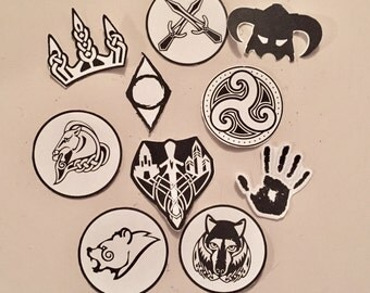 Skyrim  Black and White Die Cut Sticker Flakes
