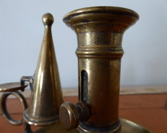 Brass candle stick holder with douter and candle height adjustor, French Vintage Candle Holder 0317017-152