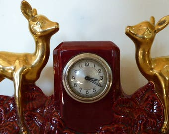 Art Deco Mantel Clock With Garnitures, Decorative Clock Set with Pair of Vases, Vintage French