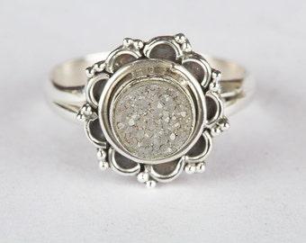 Wonderful Natural Druzy Gemstone 925 Sterling Silver Handmade Ring RS-501