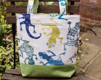 Tote bag, handbag, daybag, padded shoulder bag, lizard, green gecko