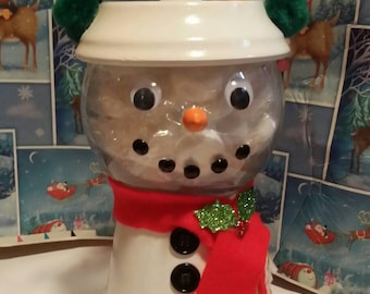 Snowman candy dish,snowman decor,kitchen decor,Christmas decor,Christmas gift,clay pot,glass bowl