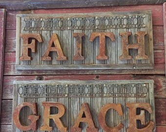 Rustic Weathered Wood and Rusty Tin Letter Sign