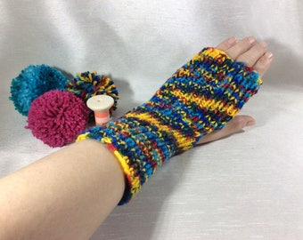Fingerless gloves,  handwarmers, ribbed, vegan, knitted, versatile gloves, ready to post, made to order