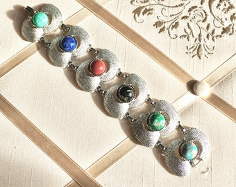 Vintage 60s Sarah Coventry Wide Link Bracelet in Silver Tone Metal with Faux Gemstone Centers Statement