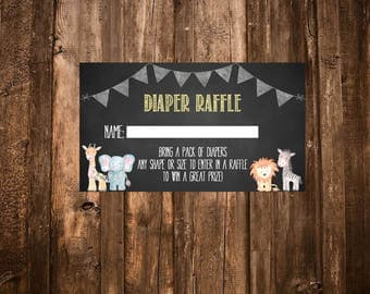 Safari Diaper Raffle Card, Safari Baby Shower, Jungle Diaper Raffle Card, Jungle Baby Shower-DIGITAL
