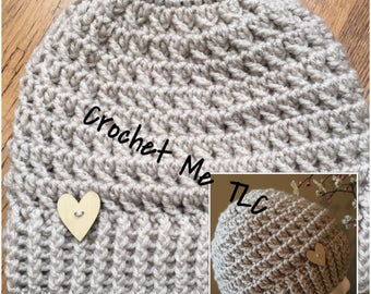 Warm Hugs Messy Bun Hat with Decorative Button