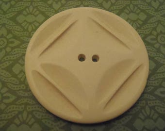 Vintage Button XLarge Carved White Polished Coat Button 1 5/8 inch (40 mm) sew craft scrapbook