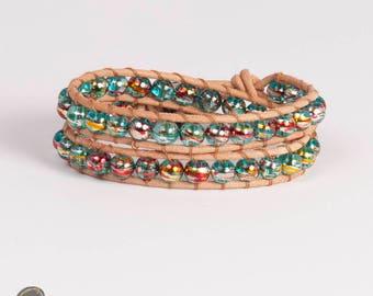 Double wrap leather bracelet, leather jewelry, Leather Wrap, bracelet