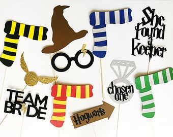 11 piece Glitter Harry Potter Themed Party Photo Booth Props // Bachelorette, Bridal Shower, Muggle Team Bride Chosen One She Found a Keeper
