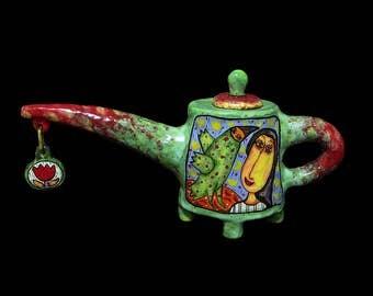 Ceramic teapot Kitchen decor, Glaze painting, teapot with decor, painted teapot, teapot a decorated, Pottery teapot, Handmade Ceramic Kettle