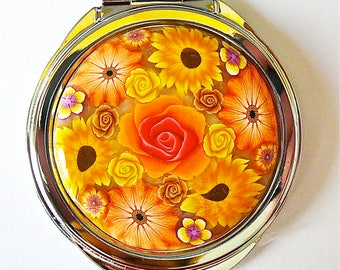 Mirror bag flower orange polymer clay