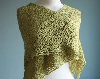Pistachio merino wool crochet shawl wrap scarf