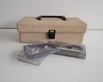 vintage cassette tapes holder. cassette box. cassette tapes case. brown beige cassette tapes case. space for 12 cassette tapes. plastic clip