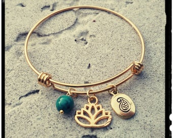 Golden Lotus - Charm Bangle - Choose Lotus Design - Gold Stainless Steel//Stamped Paisley//Chrysocolla Stone - Expandable Bracelet - Gift