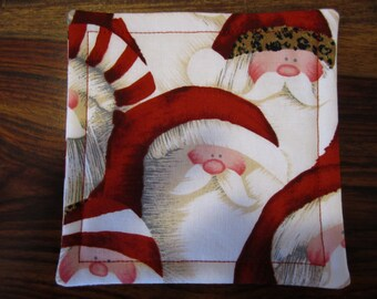 Santa Fabric Coaster Set, Santa, Christmas, Coasters, Fabric Coasters, Coaster Set, Fabric Coaster Set, Holiday gift, Hostess Gift, Gift