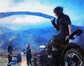 Final Fantasy , Noctis Lucis Caelum art, digital poster , Watercolor featured image