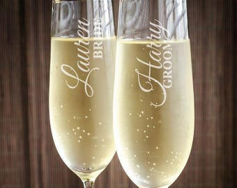 Bride and Groom Personalized Toasting Flutes - Set of 2 - JM3150354