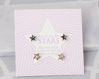 Tiny Stud earrings | Best Friends Card | Friendship Jewelry | Bestfriend | Dainty Jewelry | Card for BFF | Friendship card | Gold earrings |
