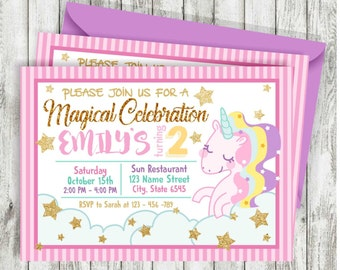Unicorn Invitation, Pink and Gold, Unicorn Birthday Invite, Sprinkle Invite, Gold Glitter, Printable Invitation, Unicorn Birthday