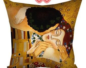 Gustav Klimt pillow with print, Gustav Klimt paintings, Gustav Klimt cushion, Gustav Klimt The Kiss, Gustav Klimt reproductions