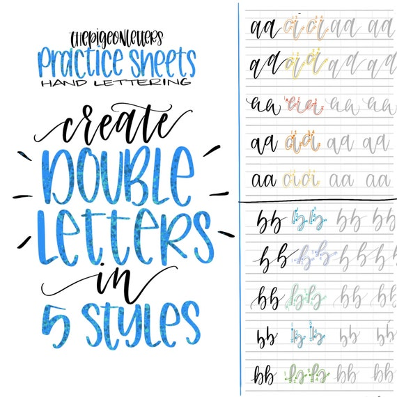 how to hand letter 5 styles letter practice sheets letter the 22312 | il 570xN.1195955689 d0uq