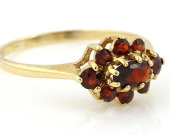 REDUCED! 9ct Gold Garnet Stacking Ring, Vintage Garnet Ring, 9ct Yellow Gold Garnet Stacking Ring