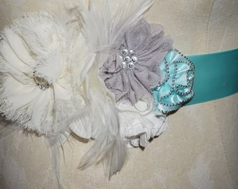 "Pregnancy Flower Sash/Belt 2"" Sateen Fabric  Ribbon/Aqua/Natural/Ivory/Gray"