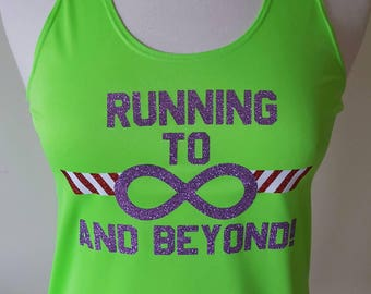 Running to Beyond Infinity - perfect for magical Half Marathon weekend! Glitter design on wicking running tank and cotton T