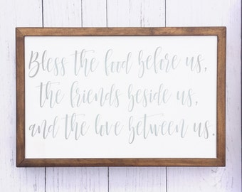 Bless the food before us wood sign | Prayer | Farmhouse