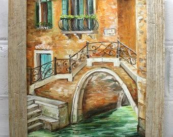 Venice Oil Painting Framed Art Original Art Italy Cityscape Painting Canvas Art Original Oil Painting Landscape Venice Bridge Painting