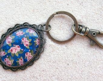 Key ring - Blue Retro Roses