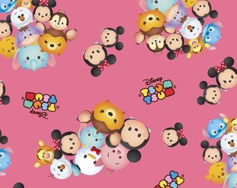 Pink Disneys Tsum Tsum Cotton Fabric