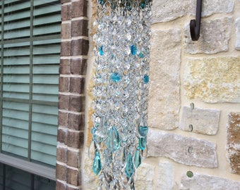Crystal Blue Persuasion lots of sparkle sun catcher brass and crystals wind chime gift for any occasion