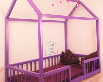 house shaped Montessori bed with RAILS , House bed, Montessori bed, home house frame bed, convertible house bed